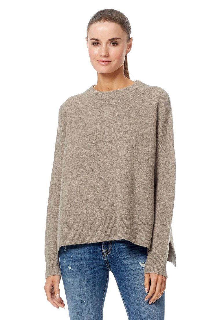 "Plush and soft, this crew pullover is great to pair with your favorite denims. Features high slits on the sides and ribbed trim.                                           Fabric: 100% cashmere.                                            Fit: True to size. Model is wearing size small.             Model Measurements: height: 5'11 / bust: 34"" / waist: 24"" / hips: 35""."