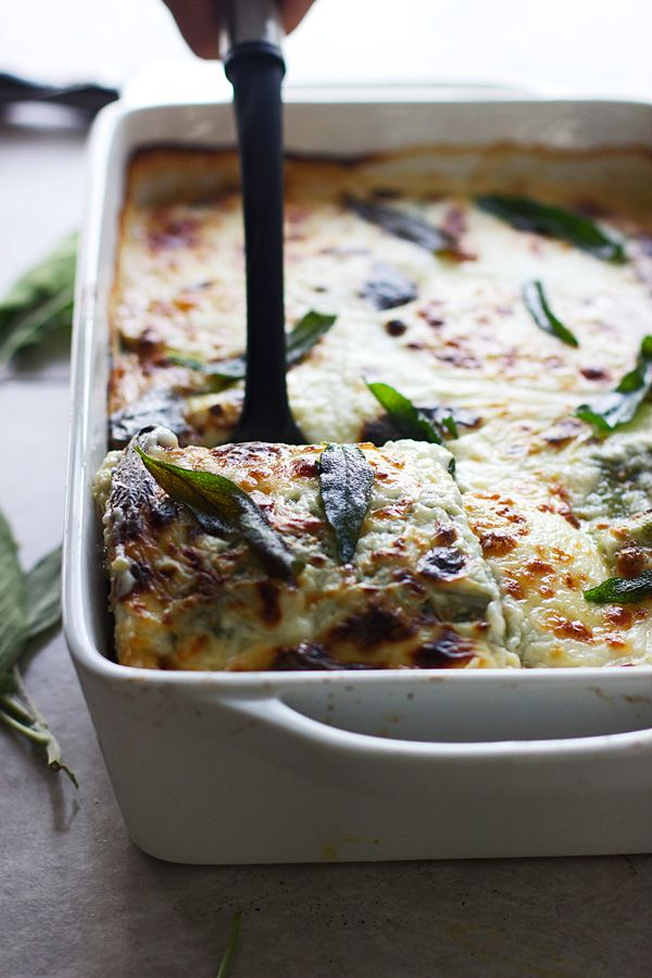 Triple mushroom lasagna with homemade ricotta + spinach pasta