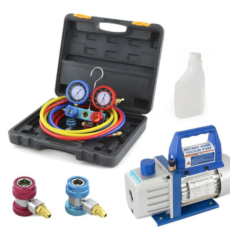 New hvac r134a manifold gauge kit with 4cfm 13hp ac set