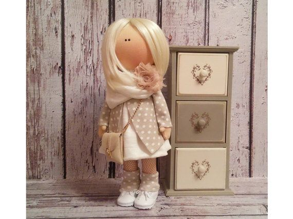 Lovely doll Tilda doll Art doll handmade blonde light brown colors Rag doll Soft doll Fabric doll Home doll by Master Irina Bukina