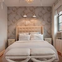 Lily Z Design - bedrooms - paisley wallpaper, gray paisley wallpaper, gray walls, wallpaper accent wall, bedroom accent wall, wallpapered ac...