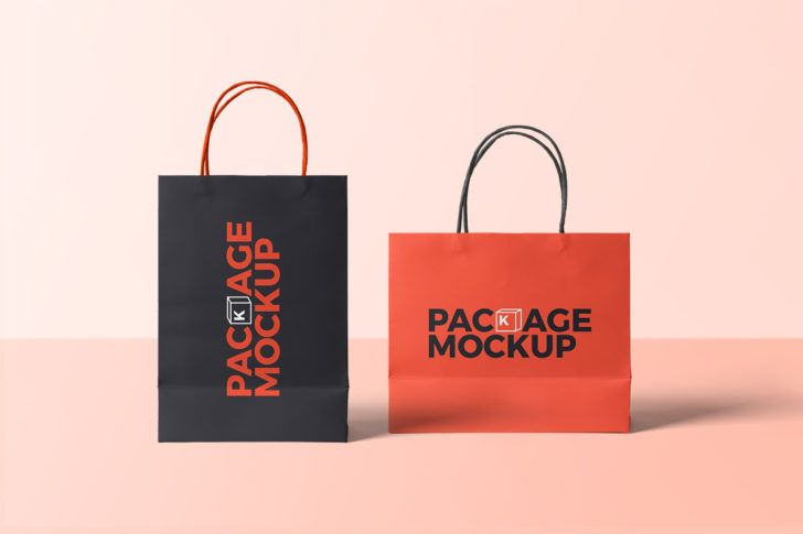 Download Free 2 Paper Shopping Bags Mockup Free Package Mockups Paper Shopping Bag Bag Mockup Packaging Design Inspiration