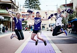 TWA-0035322 © WestPix Fremantle Dockers supporters (L-R) Lara Warner Kellie Wardle and Rebecca Lill from Jim Kidd Sports (Staff) are excited Fremantle are back in the finals on the premiership hunt. (contact : Lara Warner 9 430 4493 (store prefer) or 0419 954 926). 01/09/14 Picture : Lincoln Baker/The West Australian.