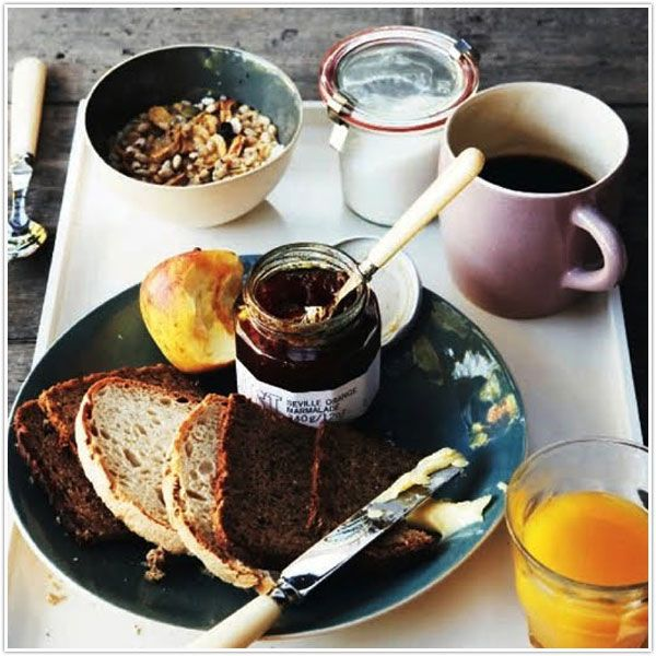 a fall inspired breakfast with freshly made jam and homemade bread