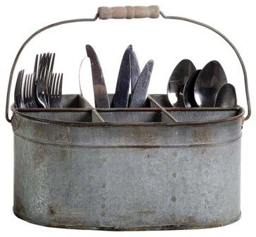 for mom: Farmhouse Style Tin Caddy with 6 Compartments - eclectic - cabinet and drawer organizers - atlanta - Iron Accents