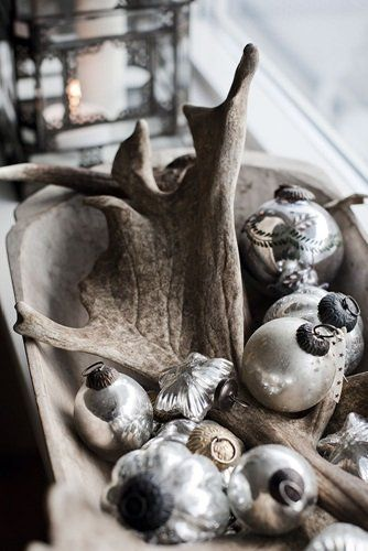 "Dough bowl, mercury glass and.....antlers?  ""Santa had one more reindeer before he visited our house kiddies""."