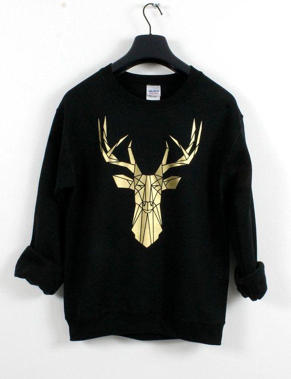 Gold and Black Stag head graphic sweatshirt van Stencilize op Etsy