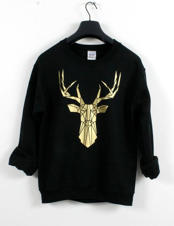 Gold and Black Stag head graphic sweatshirt от Stencilize на Etsy