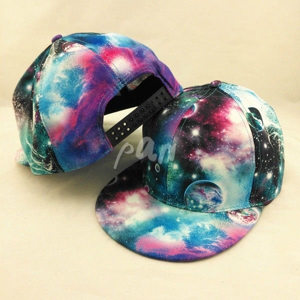 New Men Women Blue Galaxy Flat Bill Snapback Hat Hip-Hop Baseball Cap Adjustable