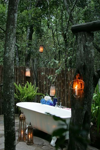 Outdoor bath rather than having a bathroom indoors