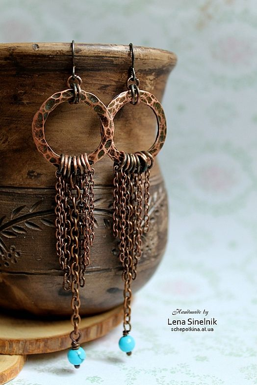 Copper Chain Earrings & Turquoise Colored Bead Accent {design by Lena Sinelnik}