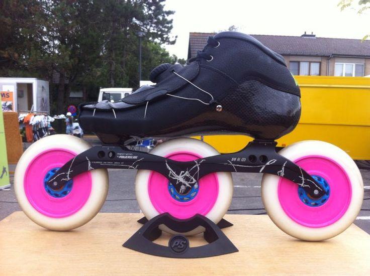Inline speed skating 125 mm X 3 wheels.