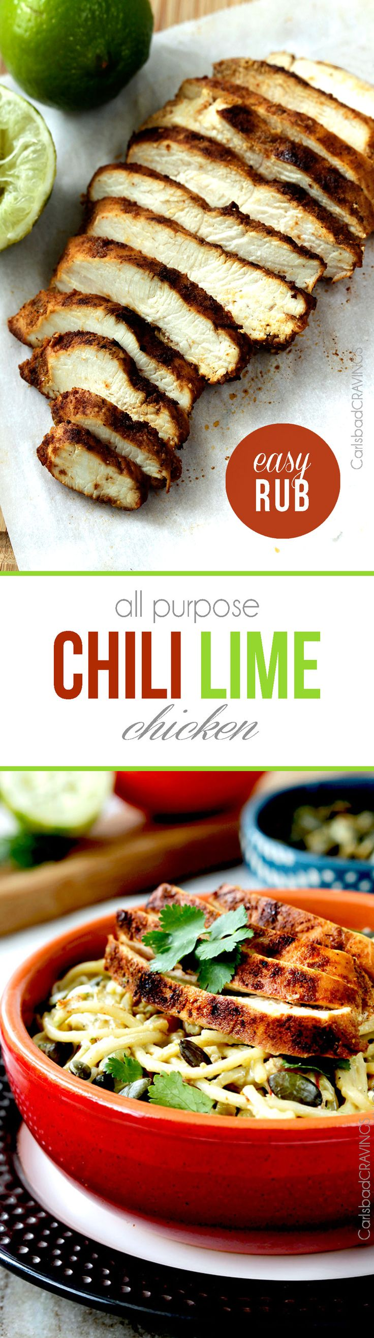 All Purpose Chili Lime Chicken so moist, tender and exploding with flavor from an EASY rub - perfect for salad, burritos, pasta, tacos etc. I love having this on hand!