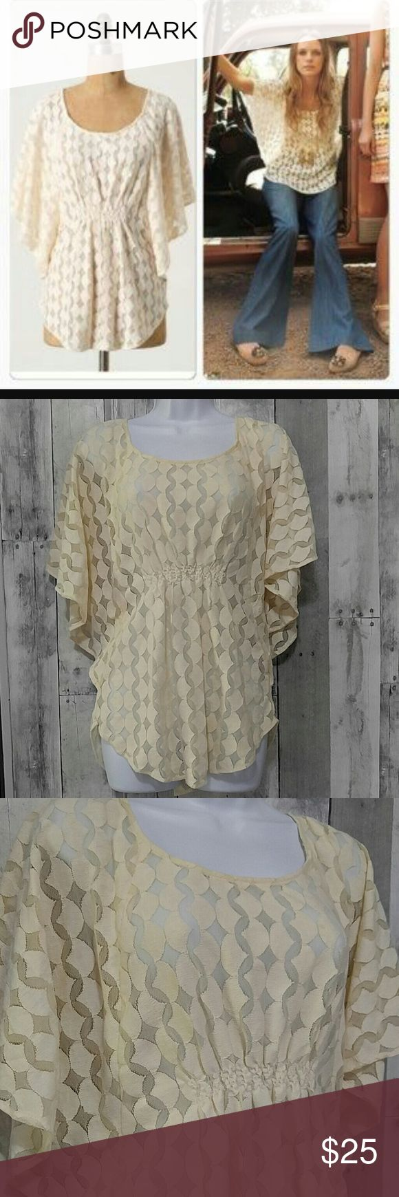 """Anthro The Addison Story Lunar Cycles Top S Beautiful cream size small Anthropologie The Addison Story Lunar Cycles top. Pullover, textured material  Gently pre owned   Light gathering on the front with batwing sleeves Beautiful blouse   28"""" long  NO TRADES Anthropologie Tops"""