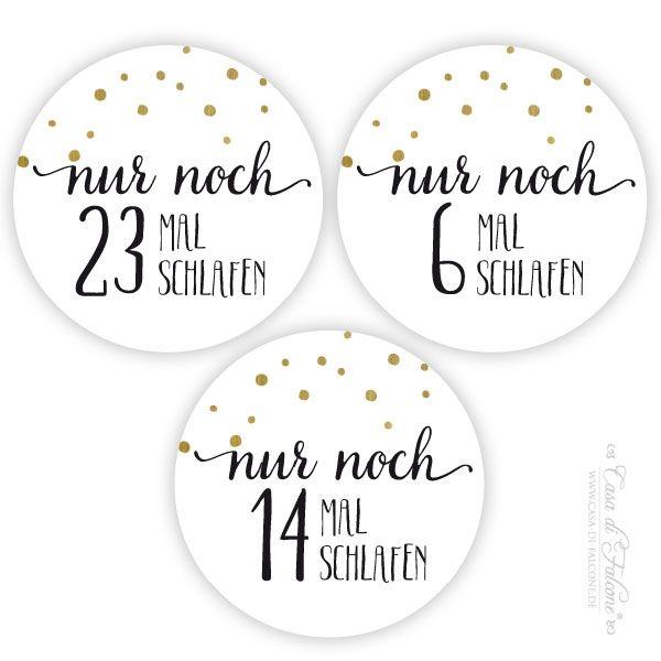 Adventskalender Zahlen Aufkleber Dots gold - Bild 2