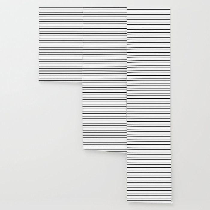 Horizontal Lines Black White Pattern Peel And Stick Wallpaper By Li I Luxiz Black Horizo In 2020 White Pattern Wallpaper Pattern Wallpaper Black White Pattern