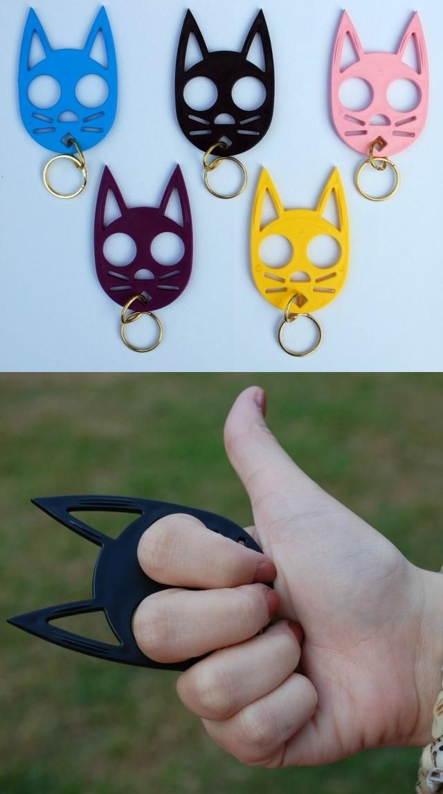 Cat keychain or brass knuckles for self defense?  Genius.