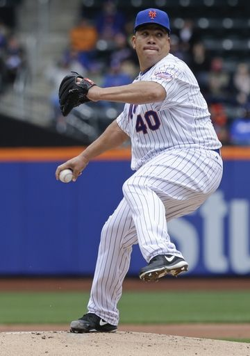 New York Mets' Bartolo Colon delivers a pitch during the first inning of a baseball game against the Atlanta Braves Thursday, April 23, 2015, in New York.  AP Photo / Frank Franklin II.