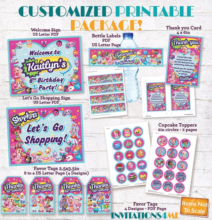 Shopkins Party Package Printable Decorations Shopkins Theme Pack Welcome Signs Favour Tags Cards Drink Bottle Labels Cupcake Toppers Custom by INVITATIONS4ME on Etsy