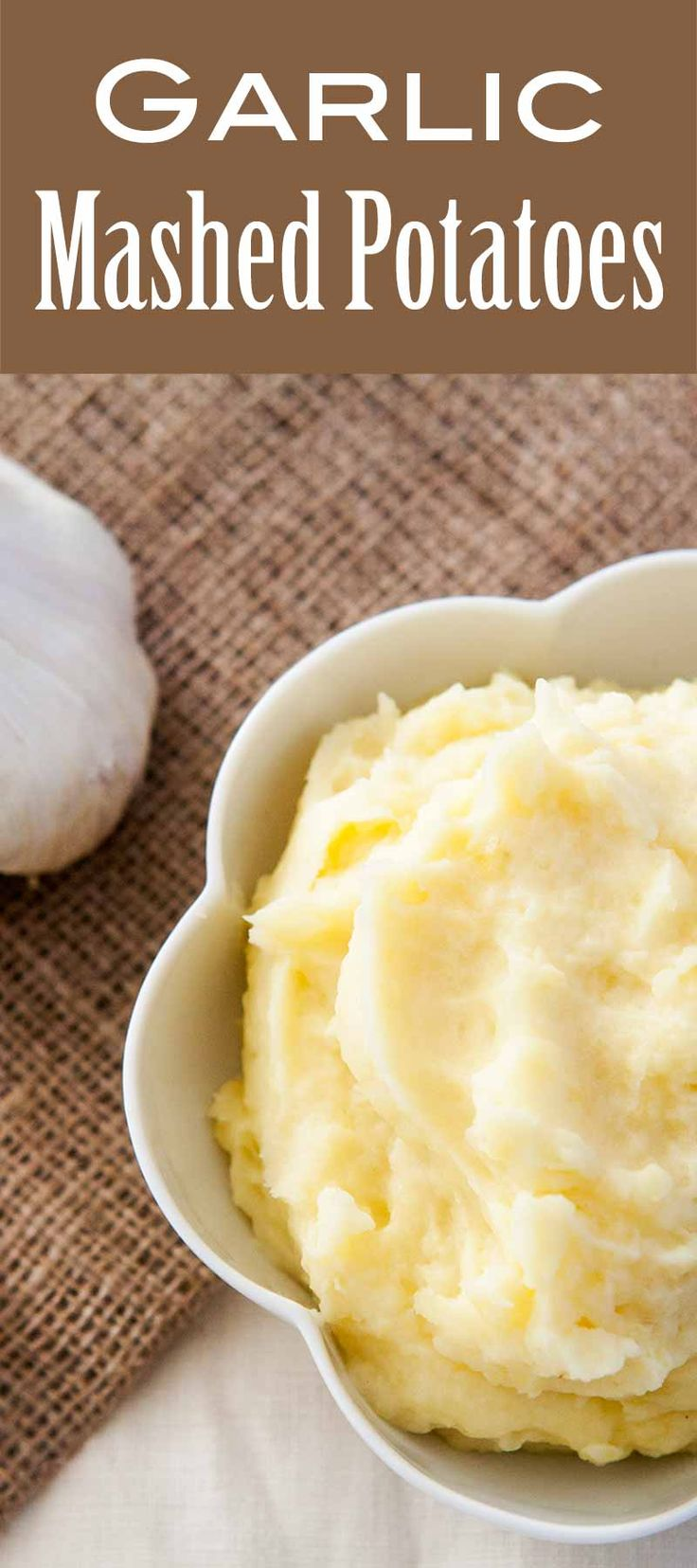 These Creamy Garlic Mashed Potatoes made with roasted garlic and Yukon Gold potatoes are the BEST! #MashedPotatoes #Potatoes #ThanksgivingRecipes #HolidayRecipes