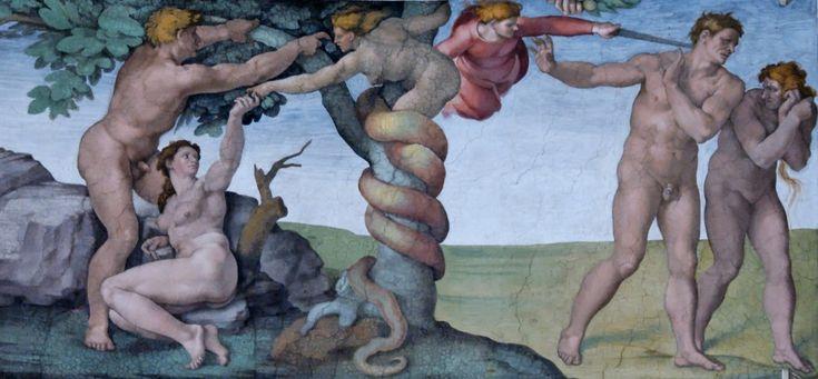 Michał Anioł_ Adam_i Ewa, Wygnanie z raju Fresk