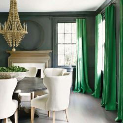 A Punch of green in a neutral dining room