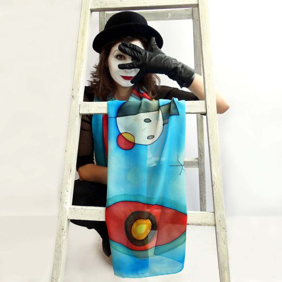 Joan Miro scarf. Hand painted shawl wrap with by AHouseAtelier