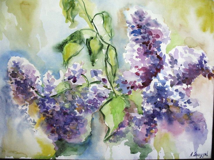 Lilac. Watercolor flowers. Watercolor painting. Abstract painting. Floral painting. Flowers painting. Spring flowers