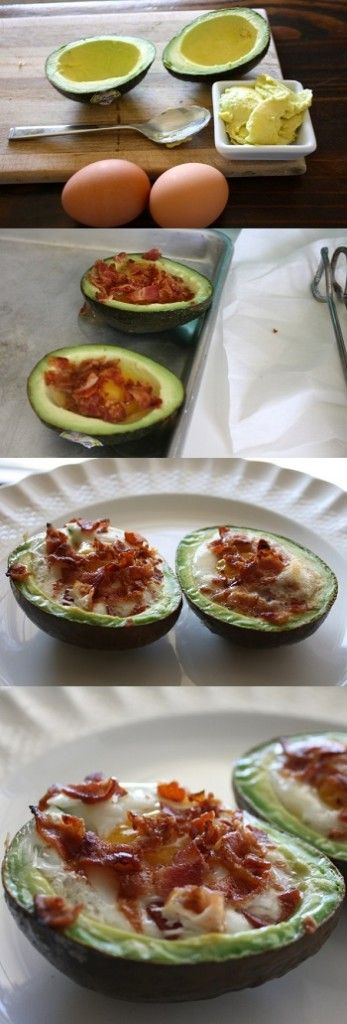 This is incredible -- Avocado Bacon and Eggs!! Makes aawesome , impress your guests for brunch add fruit & juice, and tea latte or cappuccino.