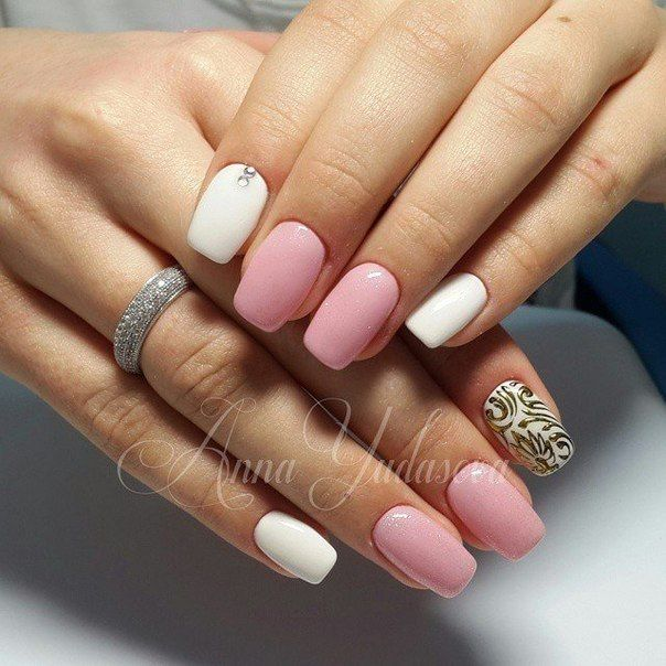Accurate nails, Cute nails, Delicate nails, Gold casting nails design, Manicure 2018, Nails trends 2018, Nails with rhinestones, Spring nail art