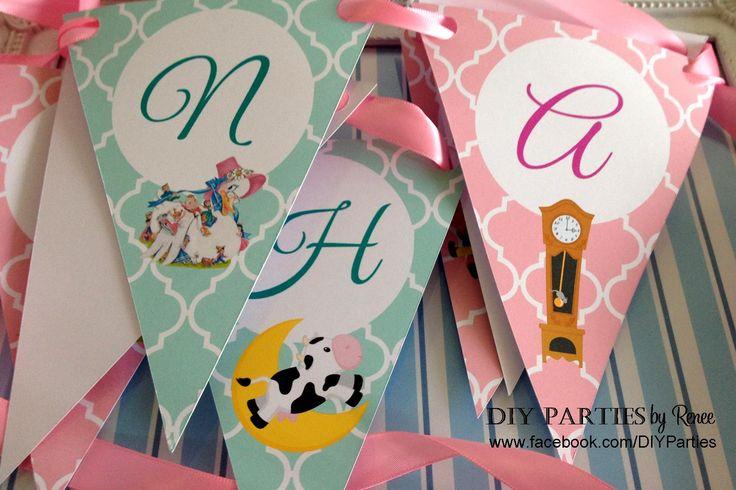 Table bunting - Nursery Rhyme.  Find us on Facebook: www.facebook.com/diyparties