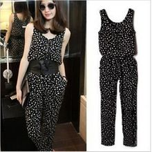 Hot Sale Rompers Womens Jumpsuit 2014 Sleeveless Dot Printed Casual Overalls Plus Size Women Clothing Ladies Bodycon Jumpsuit(China (Mainland))
