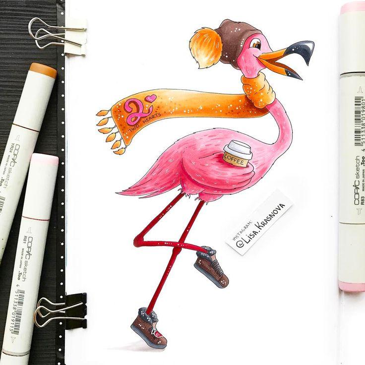 Rushing flamingo with cup of coffee! Why not? :) Нырнула с головой в очень важный проект и времени ни на что не осталось :) Так что покажу вам пока ещё одну новогоднюю открытку. Обычно я редко берусь за персонажей, но девочки из @two_hearts_studio так вдохновенно описали этого фламинго, что я не смогла отказаться :))
