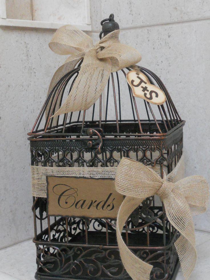 Birdcage Wedding Card Holder / Rustic Burlap Wedding Card Box. $43.00, via Etsy.