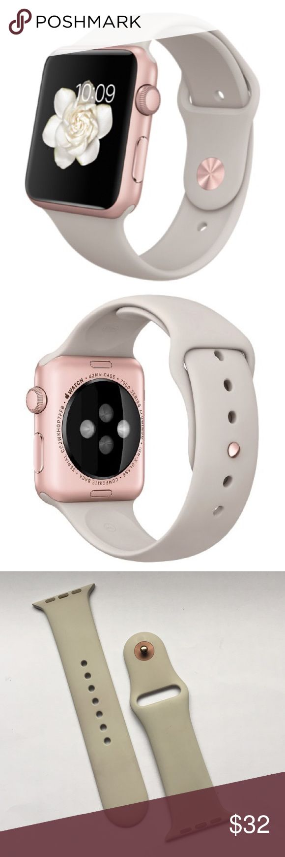 Apple Watch Sport 42mm Stone Wristband Replacement Great condition! Gray with rose gold Button. %100 authentic Apple! Bundle 2 or more items to get %10 off  Apple Accessories Watches