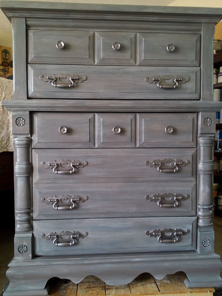 Best Painted Furniture Chunky Dresser Layered Colors Gray 400 x 300