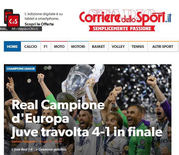Corriere dello Sport (Italia): Real, campeón de Europa. La Juve abrumada 1-4 en la final