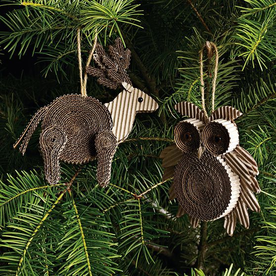 corrugated cardboard ornaments   from the Whimsical World of Laura Bird