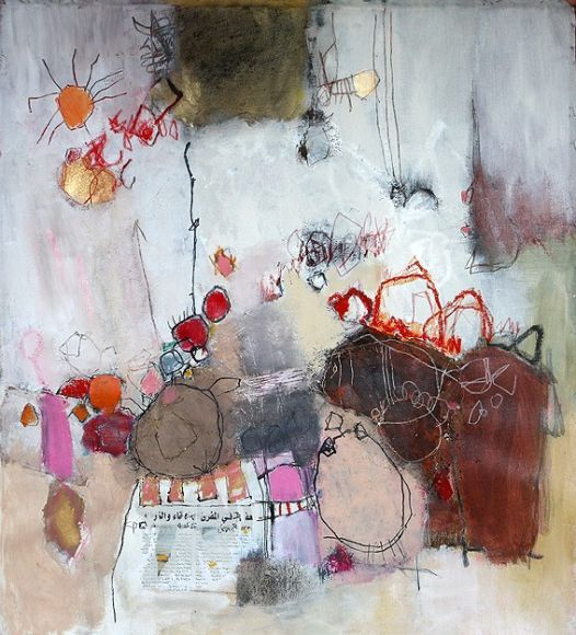 """""""monsters"""", nadine bourgne - I like this! Using a child's drawing and mark-making to turn into a contemporary painting!"""
