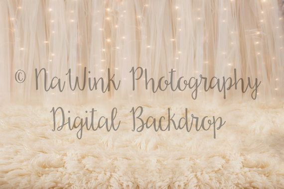 Set of 2 Christmas Lights in Tulle Bokeh with Ivory Flokati