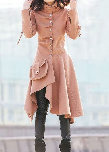 Faux Fur Collar Grey Long Sleeve Pocket Coat   lulugal.com - USD $47.69