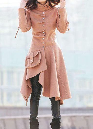 Asymmetric Hem Long Sleeve Button Closure Coat