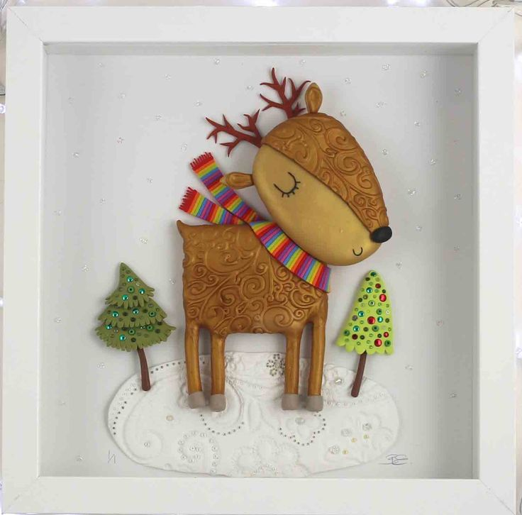 Beverley Edge - Reindeer made from Polymer clay - box frame 25 x 25cm $75
