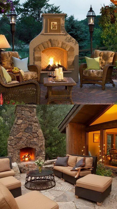 Backyard fireplace and Outside fireplace