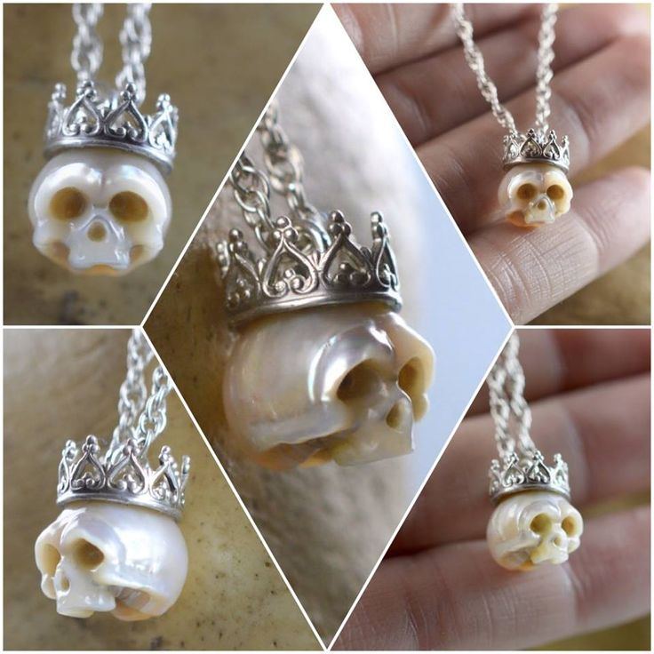 8mm carved skull pearl wearing sterling silver crown on sterling silver chain by ArloEdgeWalker on Etsy