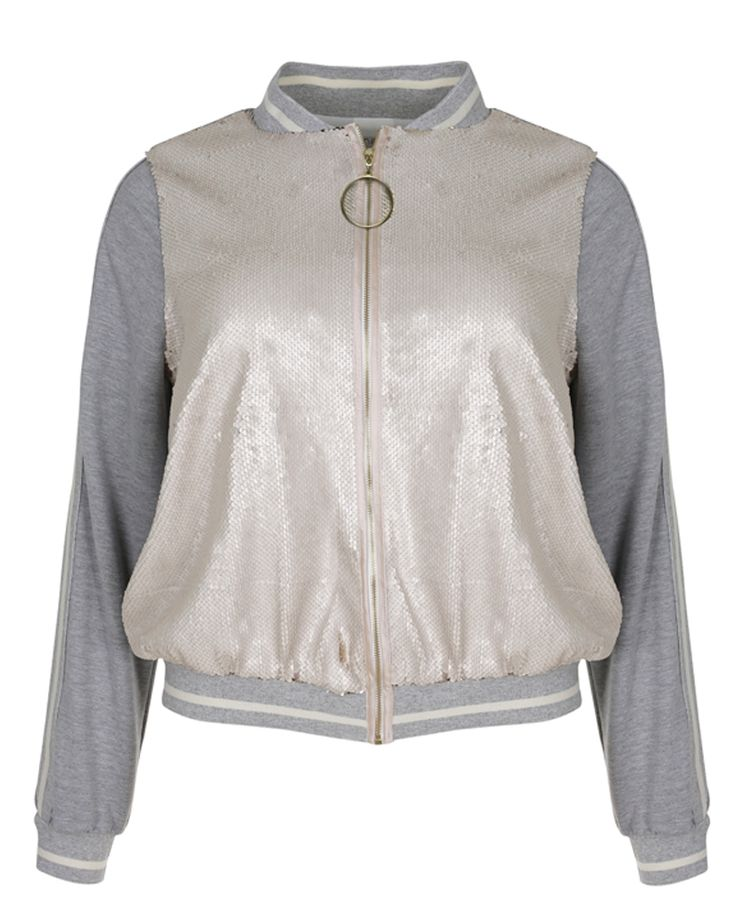 #PlusSize Bomber Jacket με sequined υφή  * Για αγορά online κλικ πανω στην εικονα
