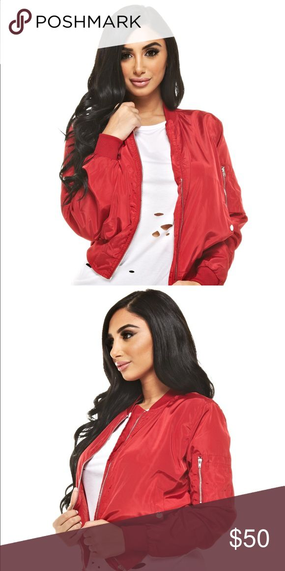 RED BOMBER JACKET Red Bomber Jacket! Very Stylish! Warm enough for a chilly day and stylish for a breezy day Jackets & Coats Utility Jackets