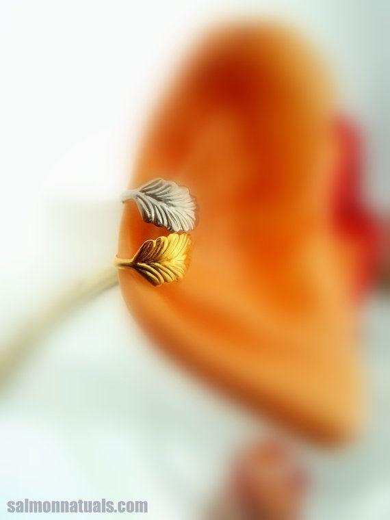 Leaf Ear cuff Gold Leaf Cartilage Ear by SalmonNaturals on Etsy, $11.00
