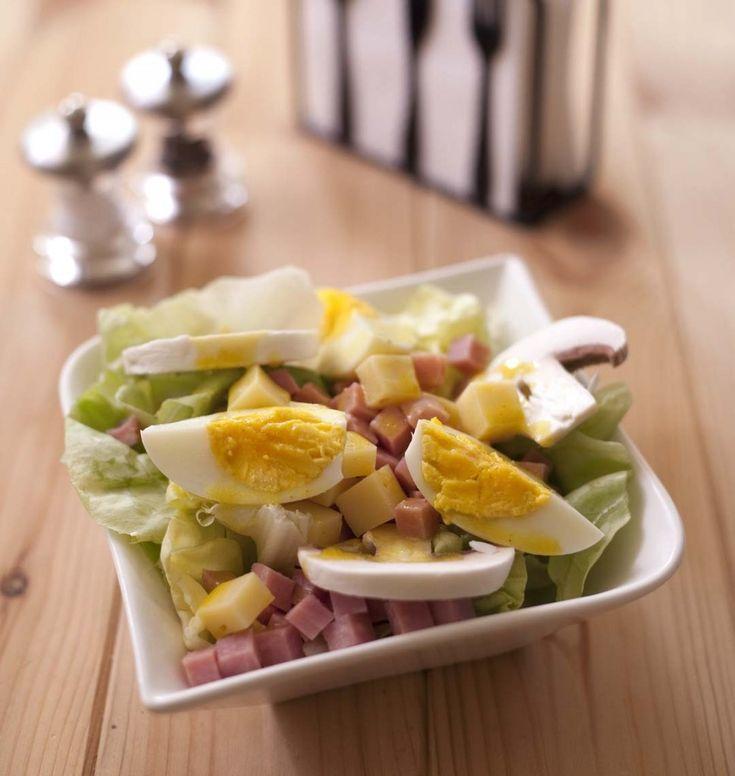 Salade parisienne : jambon champignons emmental oeufs durs - les meilleures recettes de cuisine d'Ôdélices