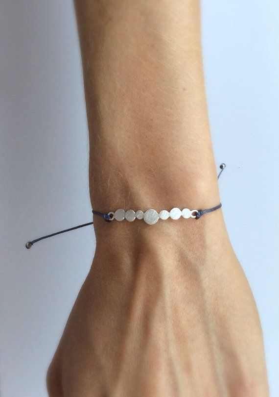 minimal silver dot leather bracelet
